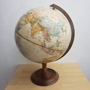 Replogle Spinning World Globe 12 Inch Classic Series Brown Raised VTG