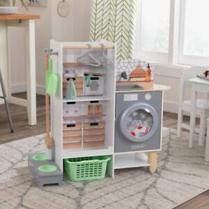 Kidkraft 2-in-1 Kitchen & Laundry Play Set | Kids Wooden Toy Kitchen Doublesided