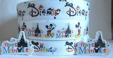 GROSGRAIN DISNEY MICKEY MINNIE RIBBON LOT PLUS FLAT BACK RESINS CABOCHONS