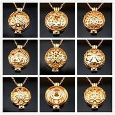Gold Photo Locket Necklace Fragrance Essential Oil Aromatherapy Diffuser 27.5''