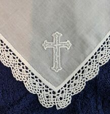 Lot of 3 Lace Handkerchiefs with a White Cross