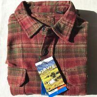 Orvis men heavyweight flannel shirt w/hand warmer pockets Orange/Green sz L, NWT