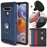 For LG Stylo 6/LG K51 Case Shockproof Ring Stand Cover+Magnetic Car Air Holder