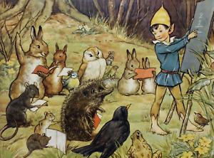 Repro Postcard: Forest School - Elf Teaches Rabbits, Owl, Birds, Hedgehog, Mice