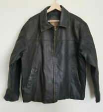Arizona Moto Faux Leather Jacket Mens Brown Zip Front Quilt Lined Pockets Size L