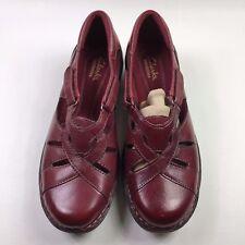 Clarks Nikki Regatta Q Adjustable Red Leather Cutout Shoes Size: 7 W