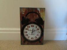 New Glass Rectangular Wall Clock-Showing Twin Bell Black Alarm Clock