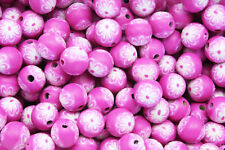 25 x 9-10mm Handmade Polymer Clay Fimo floral flower Beads – pink Floral Fuchsia