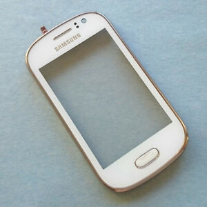 Genuine Samsung Galaxy Fame S6810 front digitizer touch screen+frame bezel White
