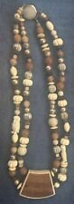 vintage double strand necklace plastic wood stone beads OWL beads