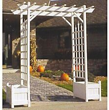 Vinyl Pergola Arbors Planters Garden Patio Wide Archway Wedding Trellis White