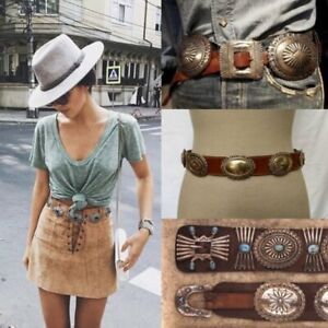 🌵 VINTAGE MADE IN USA BROWN LEATHER CONCHO BELT
