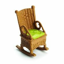 Miniature Dollhouse Fairy Garden Wicker Look Brown Rocking Chair - Buy 3 Save $5