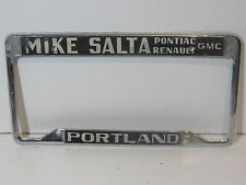 Vintage Mike Salta Pontiac Renault License Plate Frame Embossed Holder Tag Rare