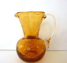 Pilgrim Pitcher Jug Amber Crackle Glass Hand Blown Clear Handle Pontil 1960s Vtg