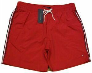 "Tommy Hilfiger Mens Logo Flag Swim 7"" Trunks Red Size XL"