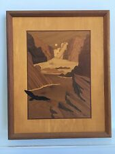"Hudson River Inlay Eagle CANYON FLIGHT Signed NELSON Wood Marquetry 14""X11"""