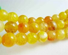"New! 10mm Yellow Dragon Veins Agate Round Gemstones Loose Beads 15"" AAA"