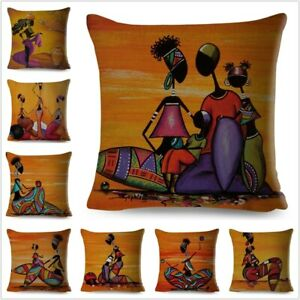 Orange Abstract Painting Africa life Collection African Woman Home Cushion Cover