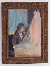 """Gemälde Öl oil Leinwand TOP 67x51 cm painting sign. """"GODO"""" Vater an Kinderwiege"""