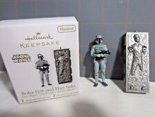 "2010  QXM9016  Hallmark   Star Wars "" Boba Fett and Han Solo	"" Ornaments"