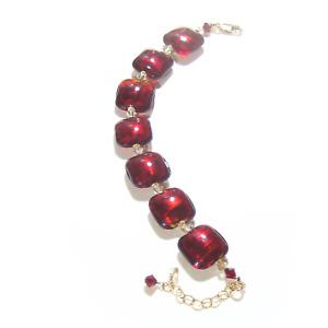 Murano Glass Red Square Gold Filled Adjustable Bracelet