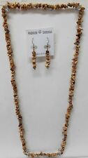 Tan Agate Earth Tone Stone 16 inch Necklace & 2 inch Earring 2 piece SET