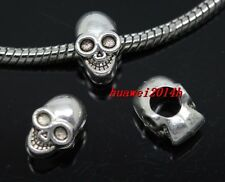 Wholesale 40pc Tibetan Silver big hole skull beads Fit Charm Bracelet(Lead Free)