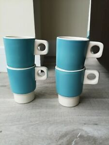 Set of 4 by Orla Kiely Stacking Coffee Cups Stackable Ceramic Retro Mugs blue