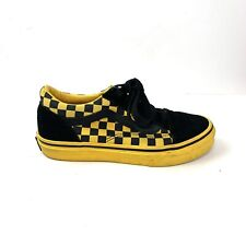 Size 3 Kids | Vans Off The Wall Black And Yellow Checkered Skate Shoes