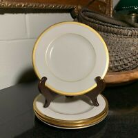 "4 Lenox Tuxedo Presidential 6 3/8"" Bread & Butter Plates Gold Trim USA Excellent"