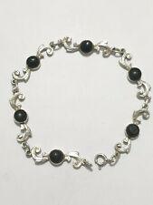 Excellent Vintage Wooden Beads Solid Links Bracelet 925 Solid Silver 19 CM