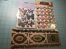 Scrapbooking Butterfly Set of 3 Items: Glittery, Bottle Caps & Puffy Decor - NEW