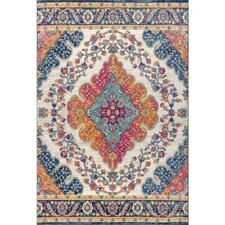 Bohemian FLAIR 3 x 5 Blue/Multi Square Indoor Medallion Area Rug