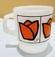 Vintage Fire King Ware Orange Tulip MUG Cup Anchor Hocking USA