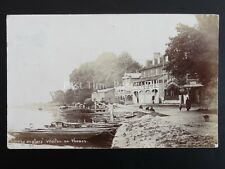 Surrey THE ANGLERS Walton on Thames SWAN HOTEL & Working Barge c1905 RP Postcard