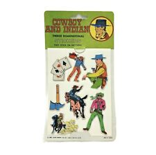 Vintage 1983 Cowboys Puffy Stickers 1980's 3D Laurie Import Taiwan Western