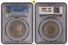 WURTTEMBERG GERMANY RARE SILVER 1 GULDEN COIN 1851 YEAR KM#574 PCGS GRADING AU50
