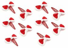 Zest 10 Christmas Sleepie Clips with Fluffy Bows Red & White