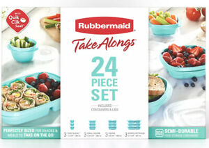 New MEAL PREP Rubbermaid Take Alongs Teal 24 Lids & Containers Food Storage