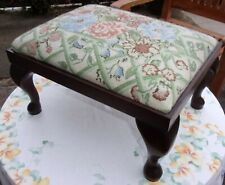 Vintage Footstool ~Roses Tapestry Fabric ~4 Wooden Queen Anne Legs 15''/38cm