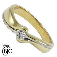 Bjc 9Ct Oro Amarillo Diamante 0.10ct Solitario TALLA M Compromiso Anillo de