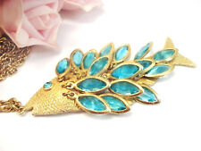Vintage Costume Jewelry  Fish Rhinestone Articulated Necklace Pendant Aqua