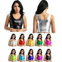 10Color Sexy Women's Shiny Metallic Tank Crop Top Bra Vest Bustier Blouse Shirt
