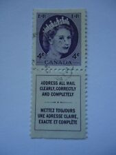 Canada QEII 1954-62 SG466b 4c violet with printed label from booklet pain used