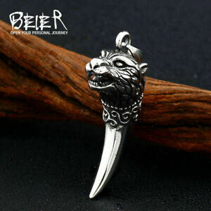 Personalized Stainless Steel Wolf Necklace Pendant Vintage Wolves' Fangs Pendant