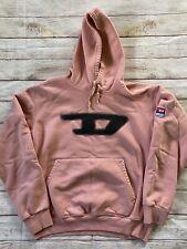 DIESEL Big Logo Hoodie Hooded Sweatshirt Salmon Pink Size L VTG