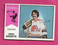 RARE 1974-75 OPC WHA # 46 NORDIQUES GAUDETTE ROOKIE CREASED CARD  (INV# A9791)