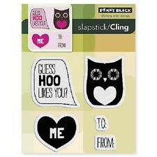 PENNY BLACK RUBBER STAMPS SLAPSTICK CLING GUESS HOO VALENTINE STAMP 2012