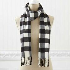 """BLACK WHITE CHECK SCARF APPROX 72"""" LONG WOMEN'S CLOTHING ACCESSORIES SCARVES"""